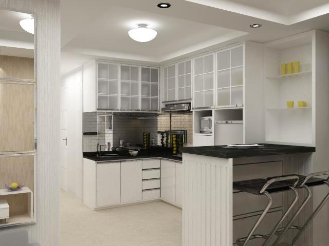 Desain interior apartemen kitchen set tazora design for Kitchen set apartemen